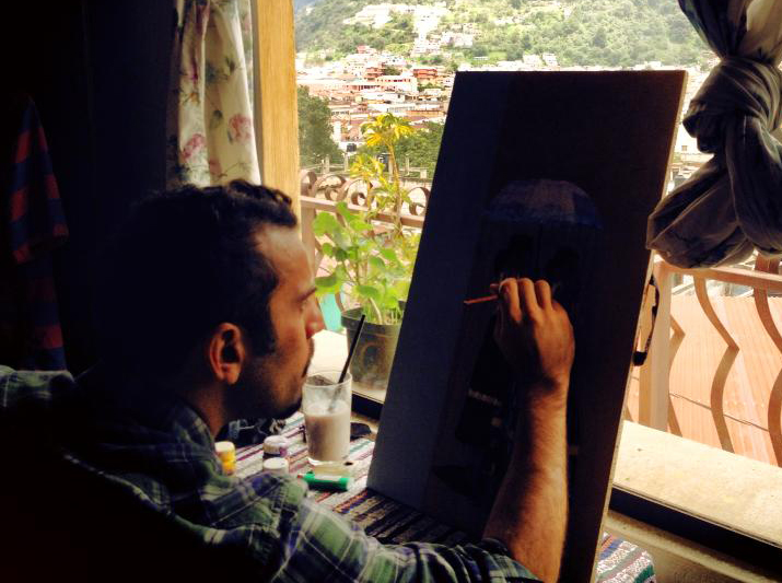 Nico Inzerella who is painting while living in Xela, Guatemala